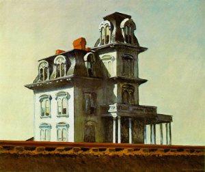 House by the Railroad El cuadro, realizado en 1925,por el  pintor estadounidense Edward Hopper  Se dice que el director de cine Alfred Hitchcock se inspiró en esta obra para el diseño del motel que aparece en la película Psicosis